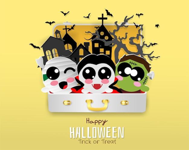 Dracula, pipistrello, mamma, zombie in borsa da viaggio, halloween, dolcetto o scherzetto