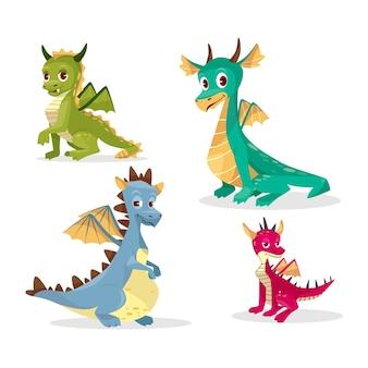 Draghi dei cartoni animati per bambini o bambini