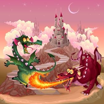 Draghi divertenti in un paesaggio di fantasia con illustrazione castello vettore del fumetto