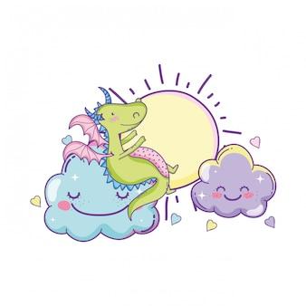 Drago carino su cartoni animati nuvole