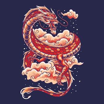 Drago cinese con illustrazione nuvola
