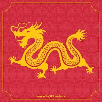 Drago cinese tradizionale con disegno della siluetta