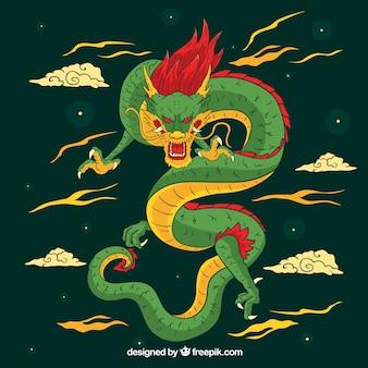 Drago cinese tradizionale disegnato a mano