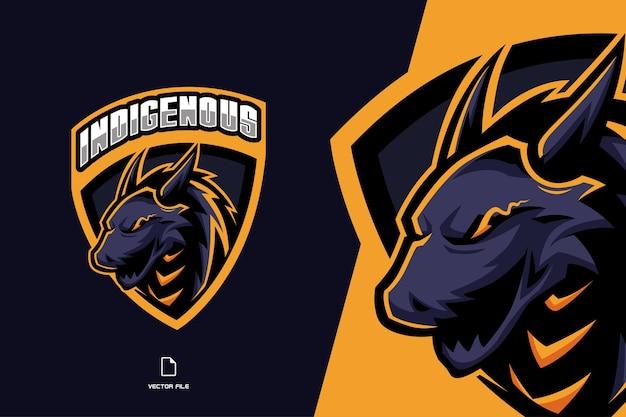 Drago con logo esport gioco mascotte scudo per squadra sportiva
