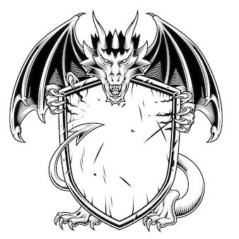 Drago con scudo