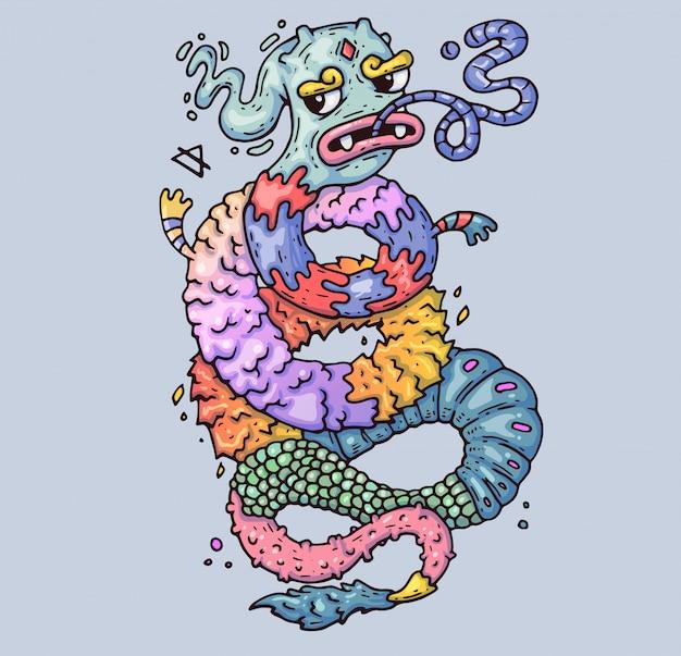 Drago magico mostro contorto. illustrazione di cartone animato personaggio in stile grafico moderno.