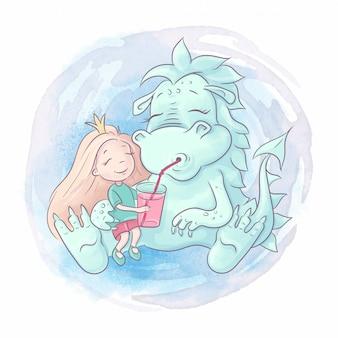 Drago simpatico cartone animato e ragazza principessa sono i migliori amici. illustrazione ad acquerello