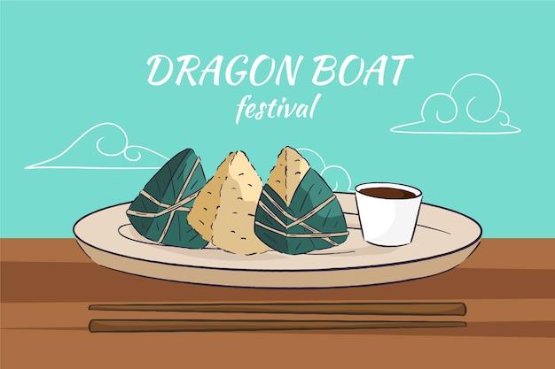 Dragon barche sfondo zongzi
