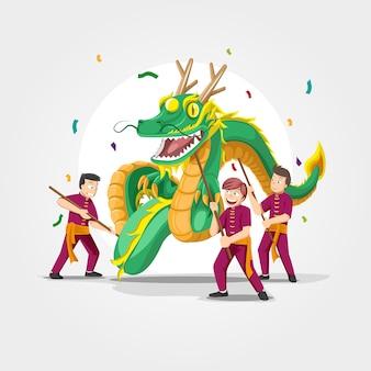 Dragon dance cinese di nuovo anno