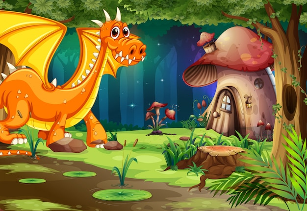 Dragon in dark forest e mushroom house