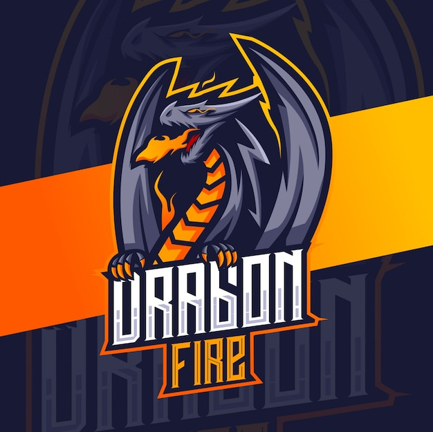 Dragon mascot esport logo design