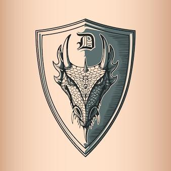 Dragon on shield.