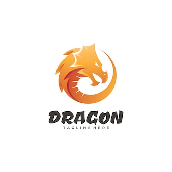 Dragon serpent head mascot logo