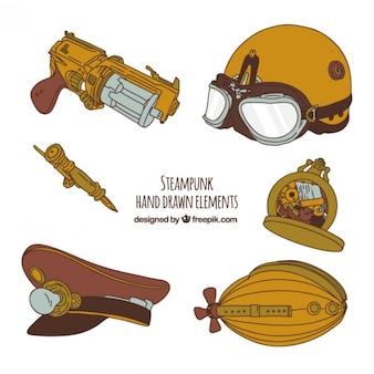 Drawn steampunk mano element collection