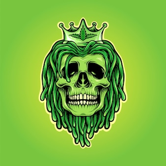 Dreadlocks skull with weed crown mascot logo