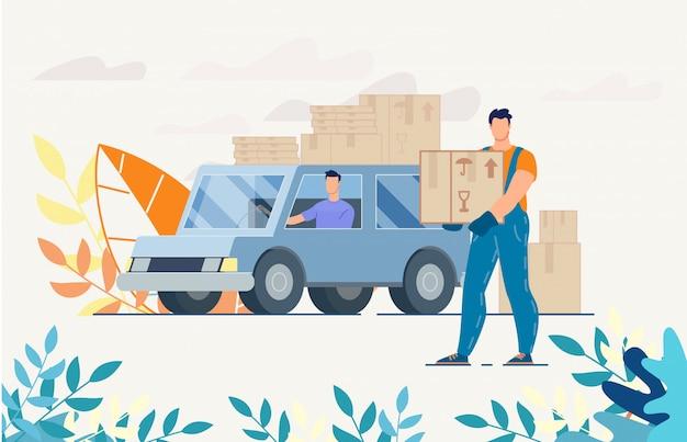 Driver del fattorino sul camion con i pacchi nell'illustrazione delle scatole