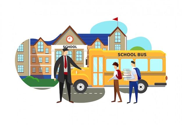 Driver meeting schoolkids di secondary school.