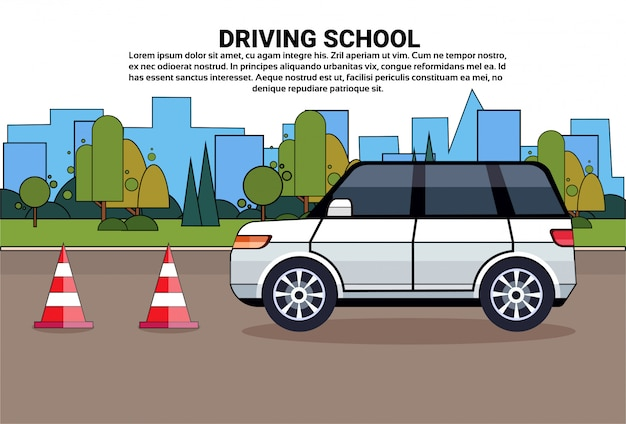 Driving school, car on road, auto drive education practice exam concept