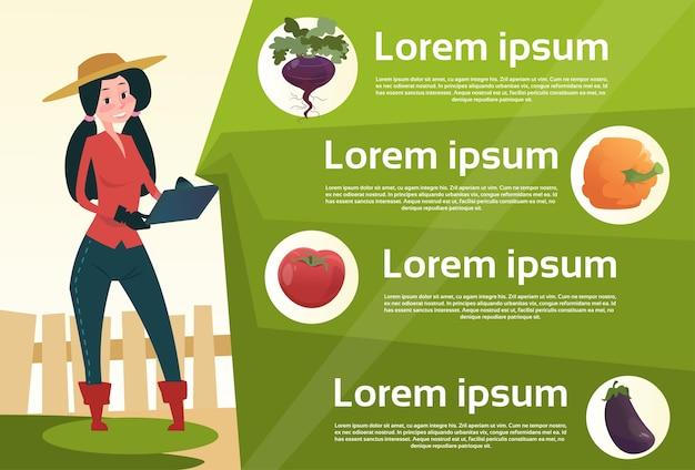 Droga della verdura fresca dell'affare online della compressa della tenuta della donna dell'agricoltore