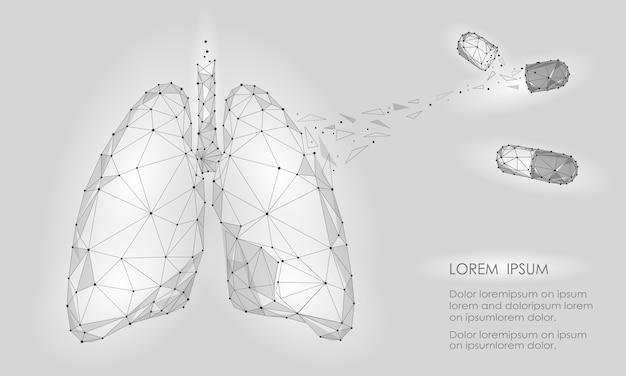 Droga di trattamento della medicina dei polmoni dell'organo interno umano. tecnologia low poly