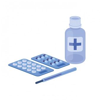 Droghe della medicina su bianco