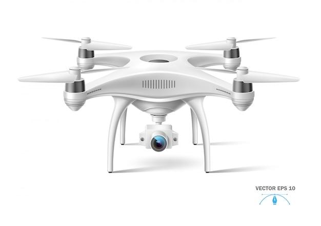 Drone aereo quadricottero realistico con fotocamera bianca senza marchio.