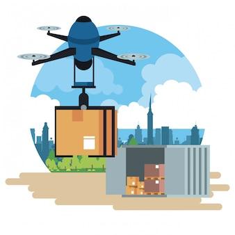 Drone che consegna scatola