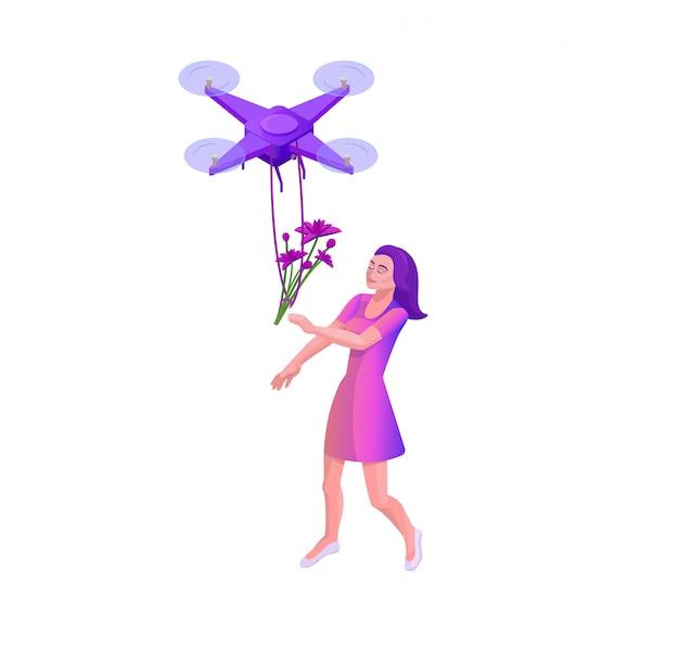 Drone che consegna vettore isometrico 3d del pacchetto