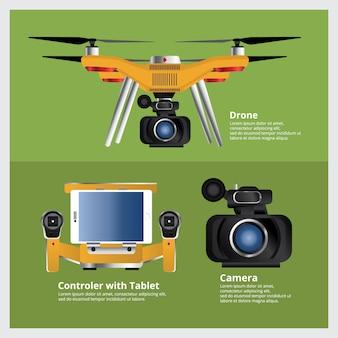 Drone con videocamera vdo e controller vector illustration