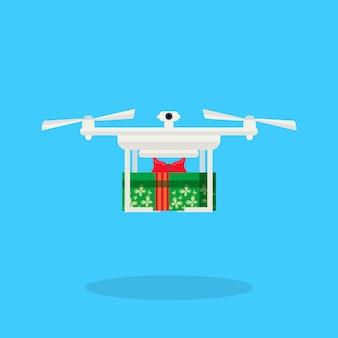 Drone consegna presente anno nuovo vacanze di buon natale