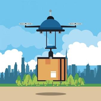 Drone consegna scatola in città