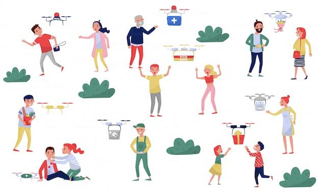 Drone delivery service, consegna di scatole ordinate alle persone, racking criminali illustrazione su uno sfondo bianco