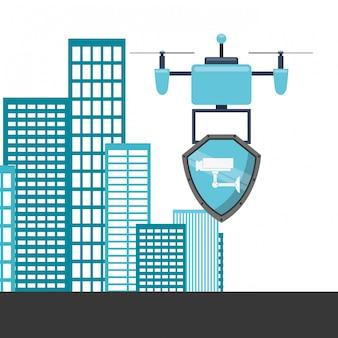 Drone design tecnologico con edifici