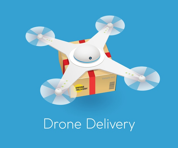 Drone moderno bianco dell'aria a distanza con una scatola