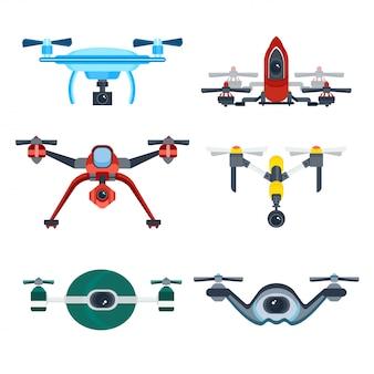 Drone quadrocopter con icona cartoon fotocamera