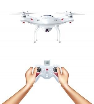 Drone senza pilota con telecomando