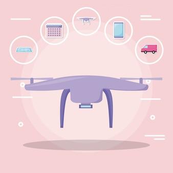 Drone tech con servizio di consegna con set di icone