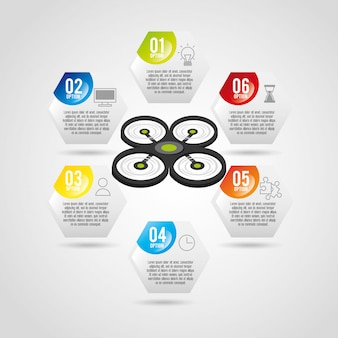 Drone technology design modello infografica