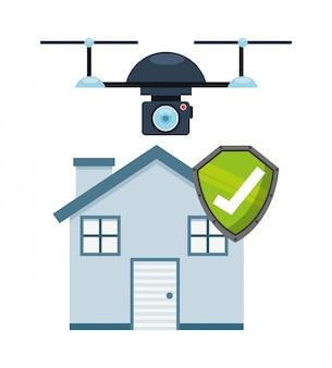 Drone tecnologia design come concetto di vigilanza dell'assicurazione casa