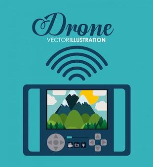 Drone tecnologia design, illustrazione vettoriale.