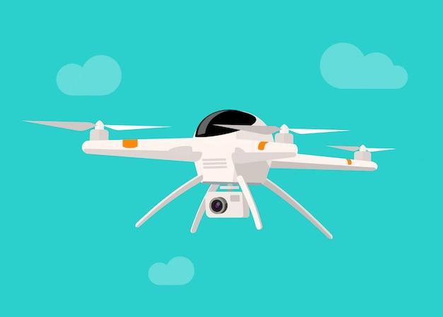 Drone volante con l'illustrazione di vettore della macchina fotografica isolata