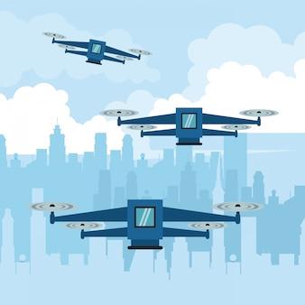 Drone volante con scatola in città