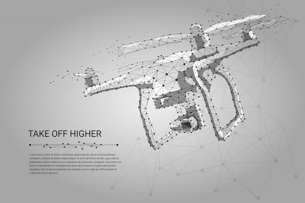 Drone volante con videocamera di azione su grigio