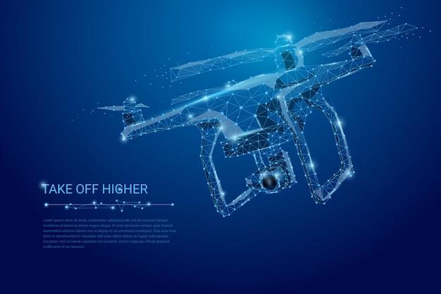 Drone volante con videocamera di azione sul banner blu scuro