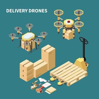 Droni quadrocopters composizione isometrica con immagini di velivoli pilotati a distanza e scatole di pacchi con chiusure di imballaggi