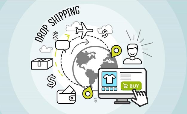 Drop shipping concept. dropship, carico e acquisto,