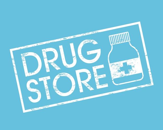 Drugstore sopra l'illustrazione blu di vettore del fondo