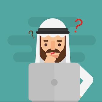 Dubbio arabo dell'uomo di affari. concetto di affari