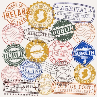 Dublin ireland set of travel and business stamps