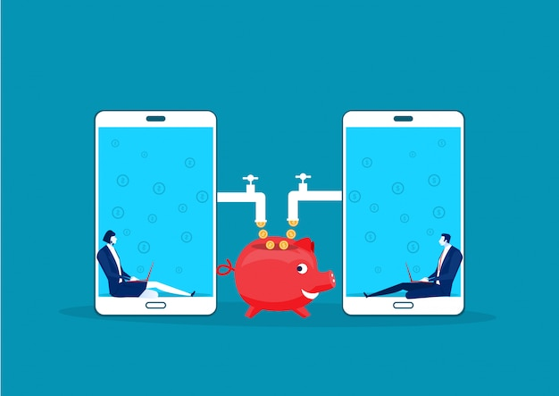 Due affari che si siedono in mobile del computer portatile con le monete fatte che lavorano reddito passivo